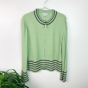 St. John Lime Green Woven Sweater Front Zip Size M